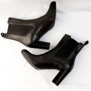 🆕️NWT Santoni Navy Blue Leather Chunky Heel Boots
